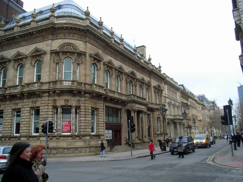 The former Union Club 1869 at the corner of Colmore Row (ahead) and Newhall Street (left).