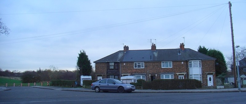Eastfield Road on the Batchelors Farm estate. Behind the houses is Batchelors Farm Recreation ground alongside the River Cole.
