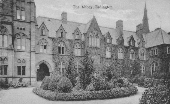 Erdington Abbey 1920. Image, now free of copyright, downloaded from the late Peter Gamble's Virtual Brum website. See Acknowledgements for a direct link to this site.