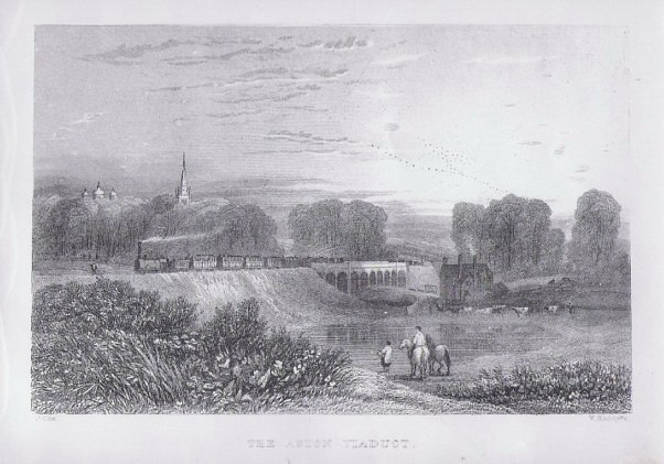 Aston Viaduct from Thomas Roscoe 1839 'Book of the Grand Junction Railway', a work in the public domain.