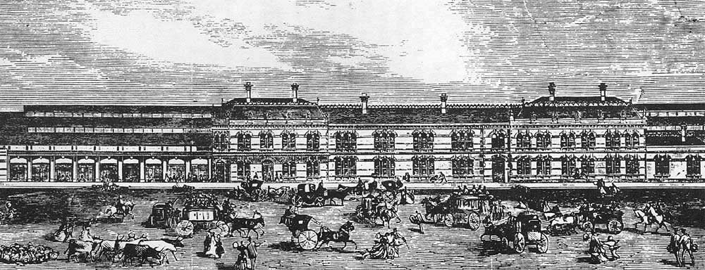 Snow Hill Station was rebuilt in 1871, shown here is the side view along Livery Street. Image and text from Mike Musson's Warwickshire Railways website