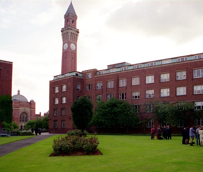 Part of the campus, with the Great Hall and clock tower in the distance.