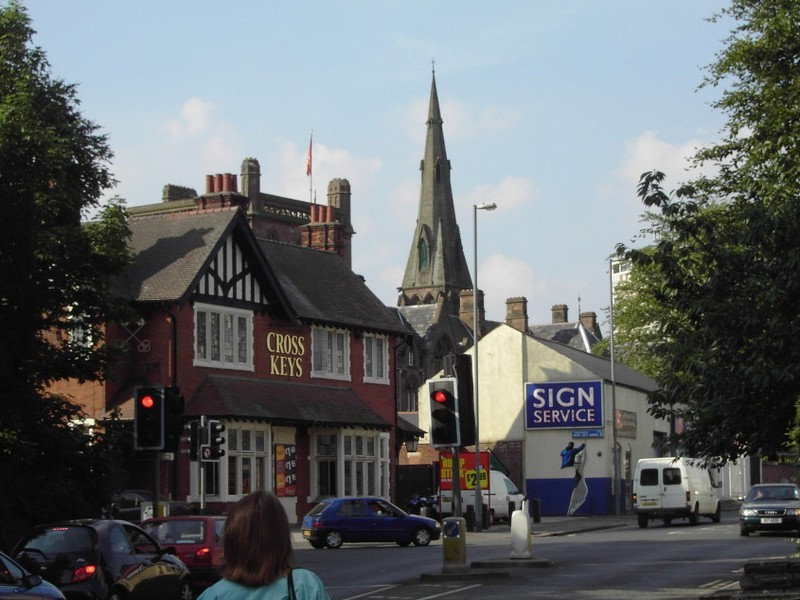 The Cross Keys on Sutton Road, Erdington Abbey in the background.