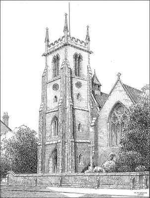St Paul's Church. Grateful thanks for the use of this image to E W Green, Historic Buildings in Pen & Ink - The Work of William Albert Green. All Rights Reserved. See Acknowledgements.