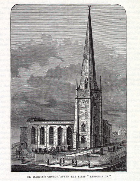 St Martin's Church reproduced with permission from a scan of R K Dent 1880 'Old & New Birmingham' by sally_parishmouse on flikr. See Acknowledgements for a direct link to Sally Lloyd's Parishmouse website.