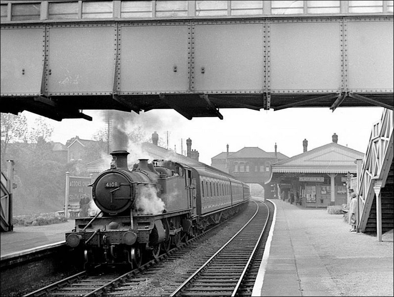 25 May 1957 GWR 2-6-2T 4108 at Acocks Green with a local train from Moor Street to Leamington Spa. Thanks to Robert Darlaston for permitting the use of this 'All Rights Reserved' photograph. See Acknowledgements for a direct link to his family website.