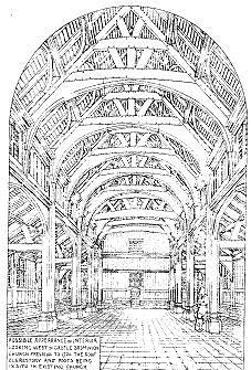 The interior of the medieval church as conjectured by Bateman. The pillars and roof timbers are still in place within the present building.