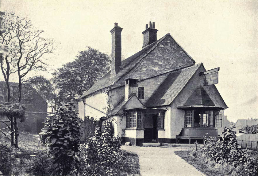 Bournville, Old Farm Inn from W Alexander Harvey 1906 The Model Village and its Cottages: Bournville - see Acknowledgements for a direct link to the Internet Archive. Photographs by T Lewis and Harold Baker of Birmingham.