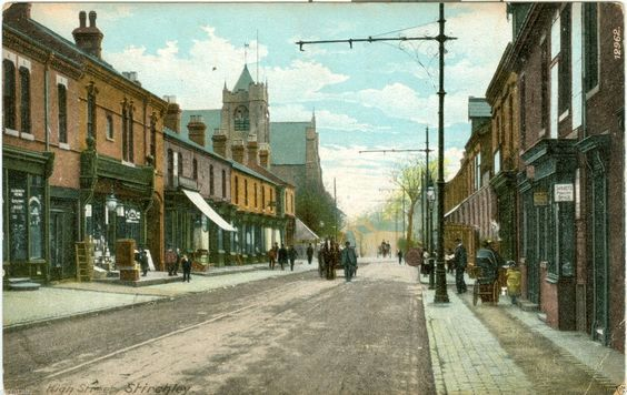 View along Hazelwell Street with the church of the Ascension in the background - postcard