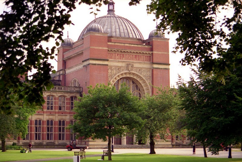 Exterior of the Great Hall of the university, designed by Sir Aston Webb (1849-1930) and also competed in 1909.  He also designed the Victoria Memorial in The Mall just in front of Buckingham Palace.