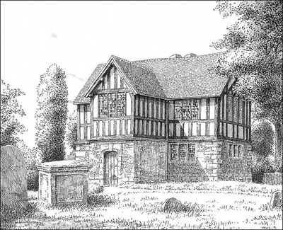 Kings Norton Old Grammar School 1947. Thanks for the use of this image to E W Green, Historic Buildings in Pen & Ink - The Work of William Albert Green. See Acknowledgements.