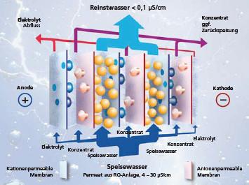 Prinzip der Elektrodeionisation mit kontinuierlicher Harzregeneration
