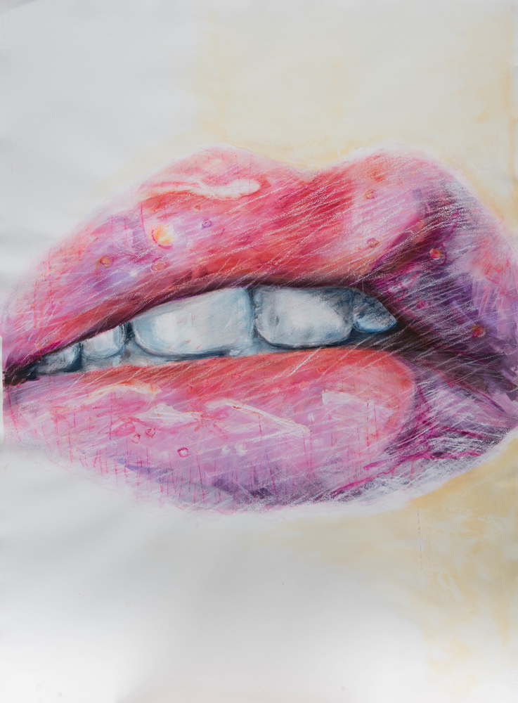 Teeth, Gouache and Pastel on Paper, 105 x 77 cm, 2018