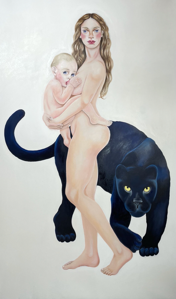 Venus with Amor/Two, Oil on Canvas, 200 x 120 cm, 2020.