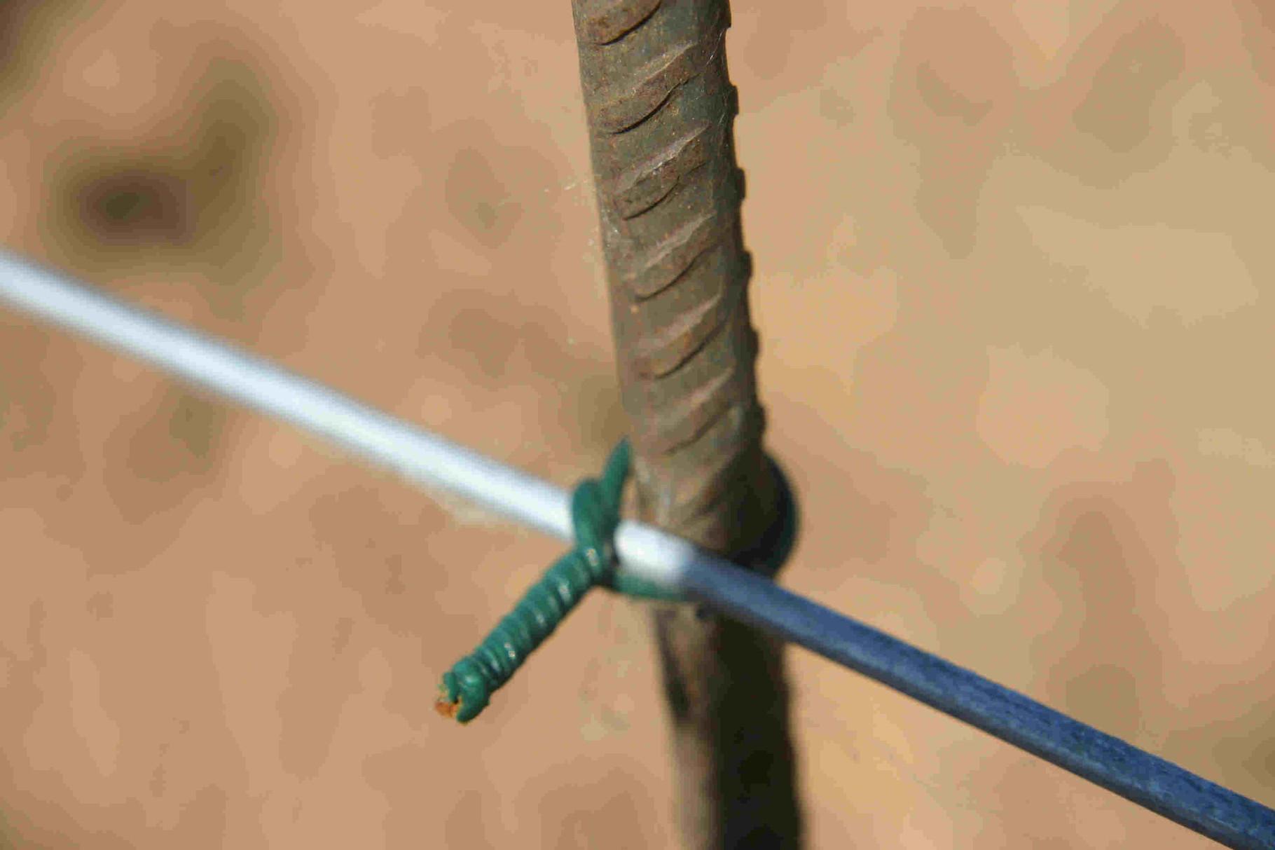 Bild 11: Pflanzpfählchen werden am Draht befestigt