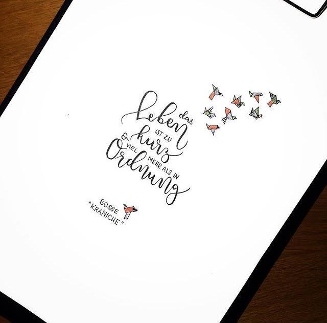 Letter Lovers fraeulein_kalt: Handlettering Spruch: das Leben ist zu kurz und viel mehr als in Ordnung