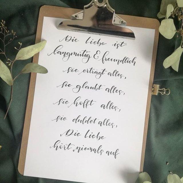 Brushlettering: Die liebe ist langmütig und freundlich... (Lettering von belettert.at für die Letter Lovers)
