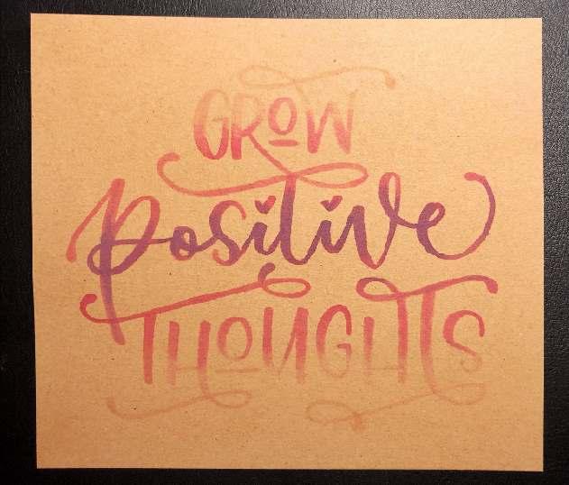 Grow positive thoughts - farbiges Lettering auf Kraftpapier mit einer Schritt für Schritt Anleitung