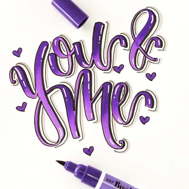 Lettering you and me (lettering_heart für die Letter Lovers)