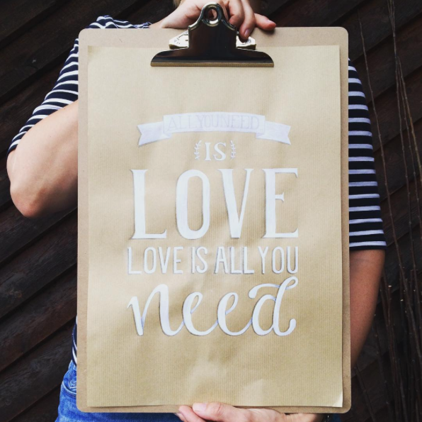 Letter Lovers unakritzolina: Handlettering Spruch All you need is Love - Love is all you need