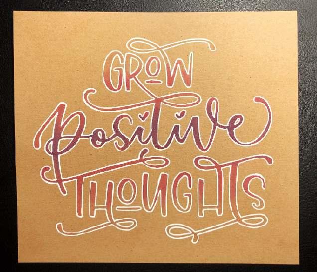 Schritt für Schritt Anleitung für ein farbiges Lettering auf Kraftpapier - grow positive thoughts