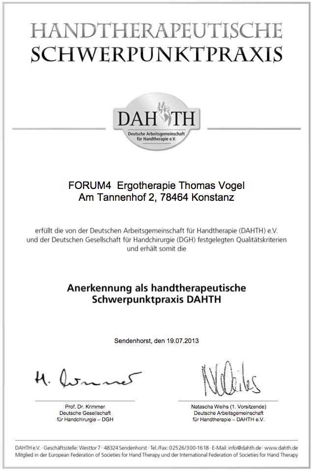 DAHTH-Anerkennung handtherapeutsiche Schwerpunktpraxis FORUM4 Thomas Vogel