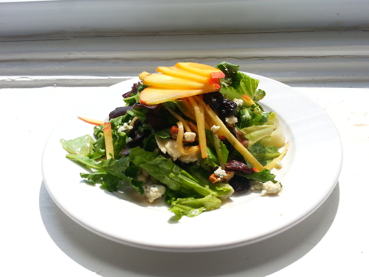 Salad of Baby Greens and Local Organic Peaches