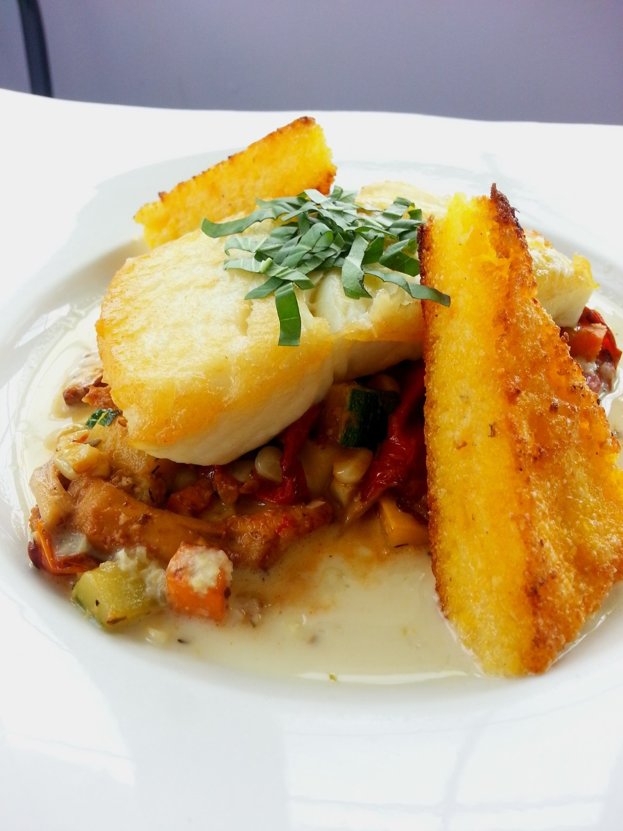 Pan Roasted Halibut with Sweet Corn Polenta