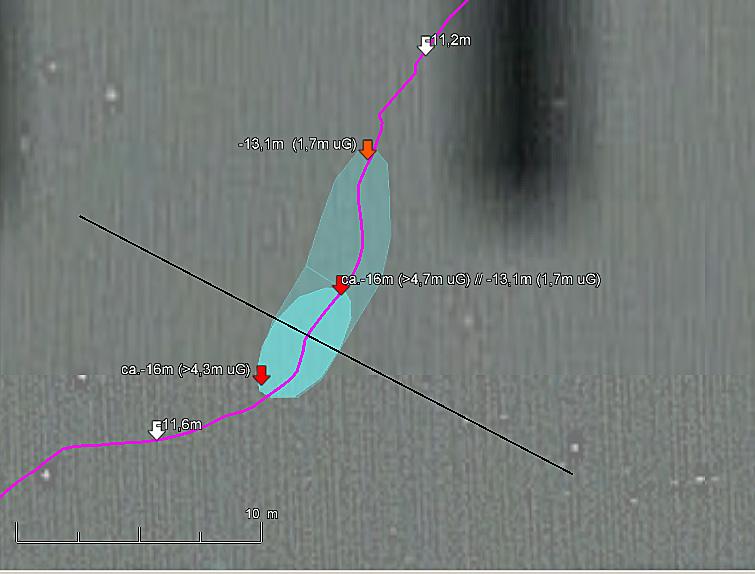 Vermessung durch Auswertung der Zeitspuren von eTrex 10 und Deeper Smart Sonar PRO+