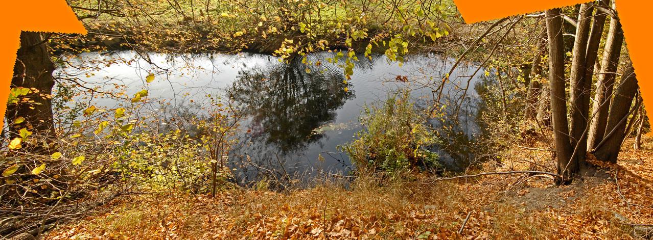 Kolk unter Prallhang, vom linksseitigen Ufer oben (Panorama-Montage) / 31.10.12