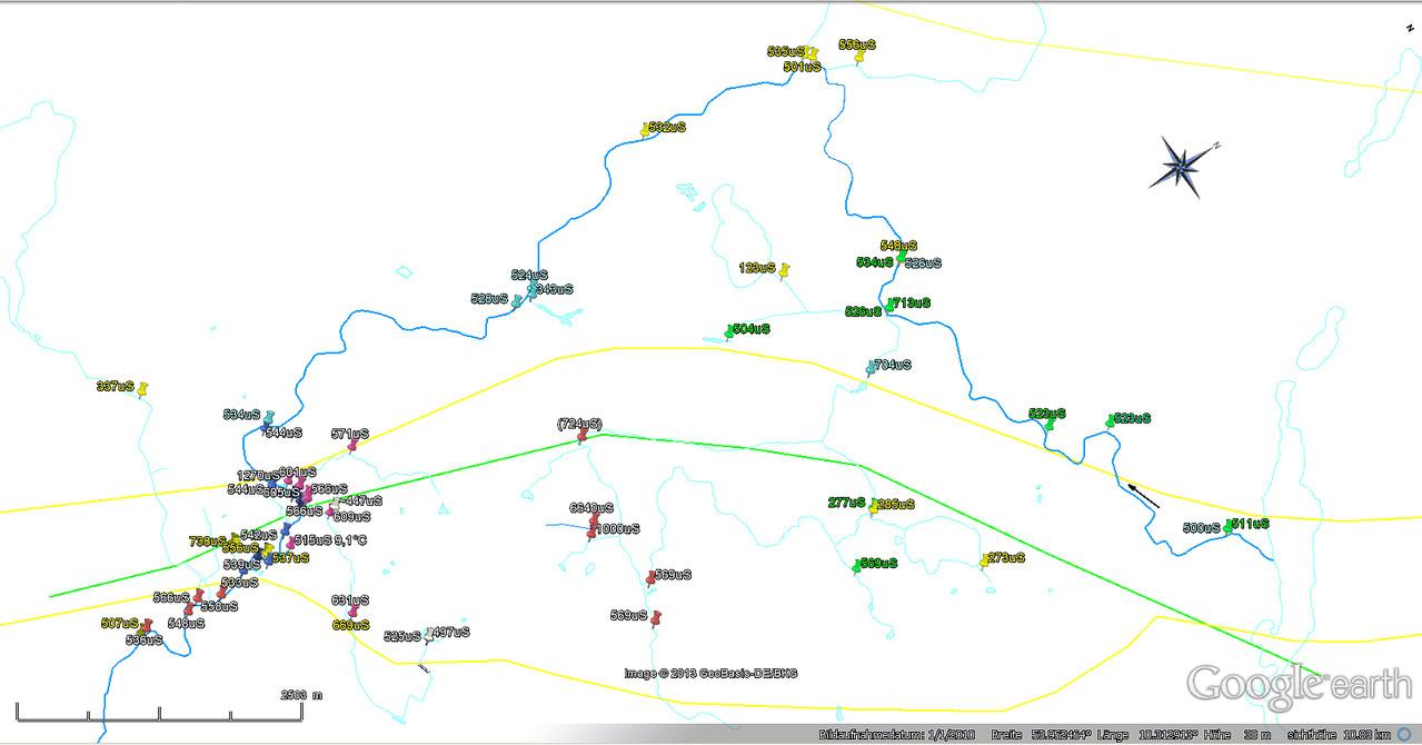Leitwertmessungen Trave und Zuflüsse (s.u.: Datei-Download)