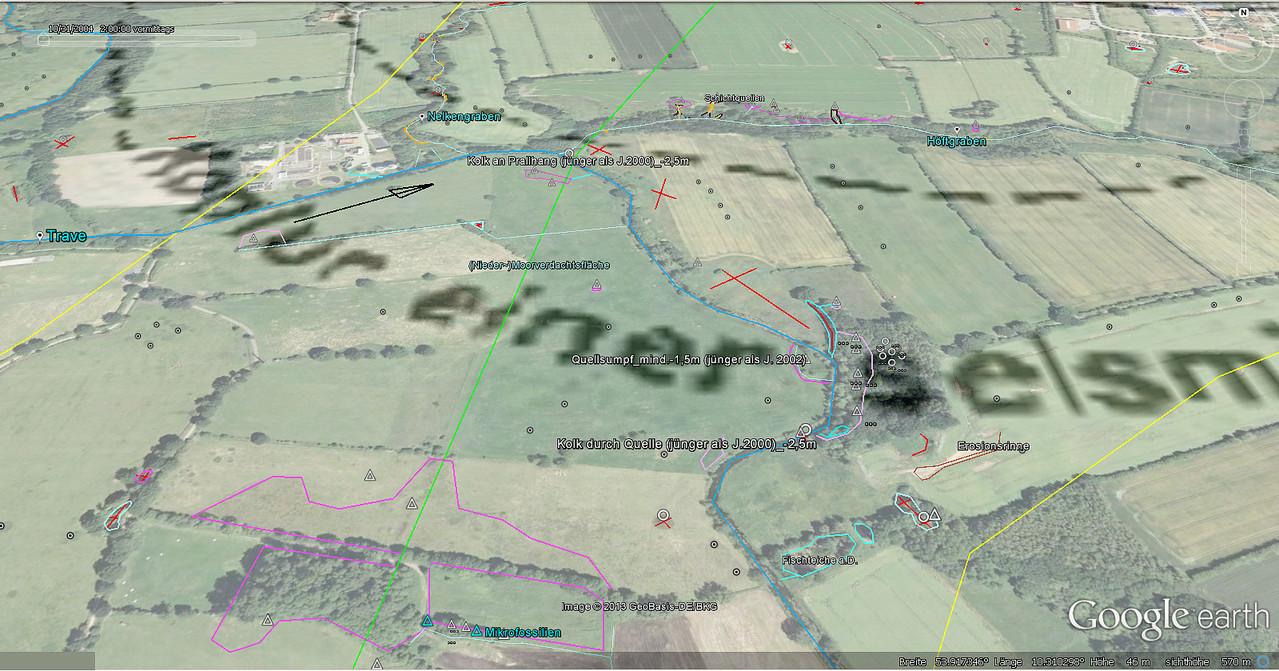 Quellen im Travetal / tektonische Elemente