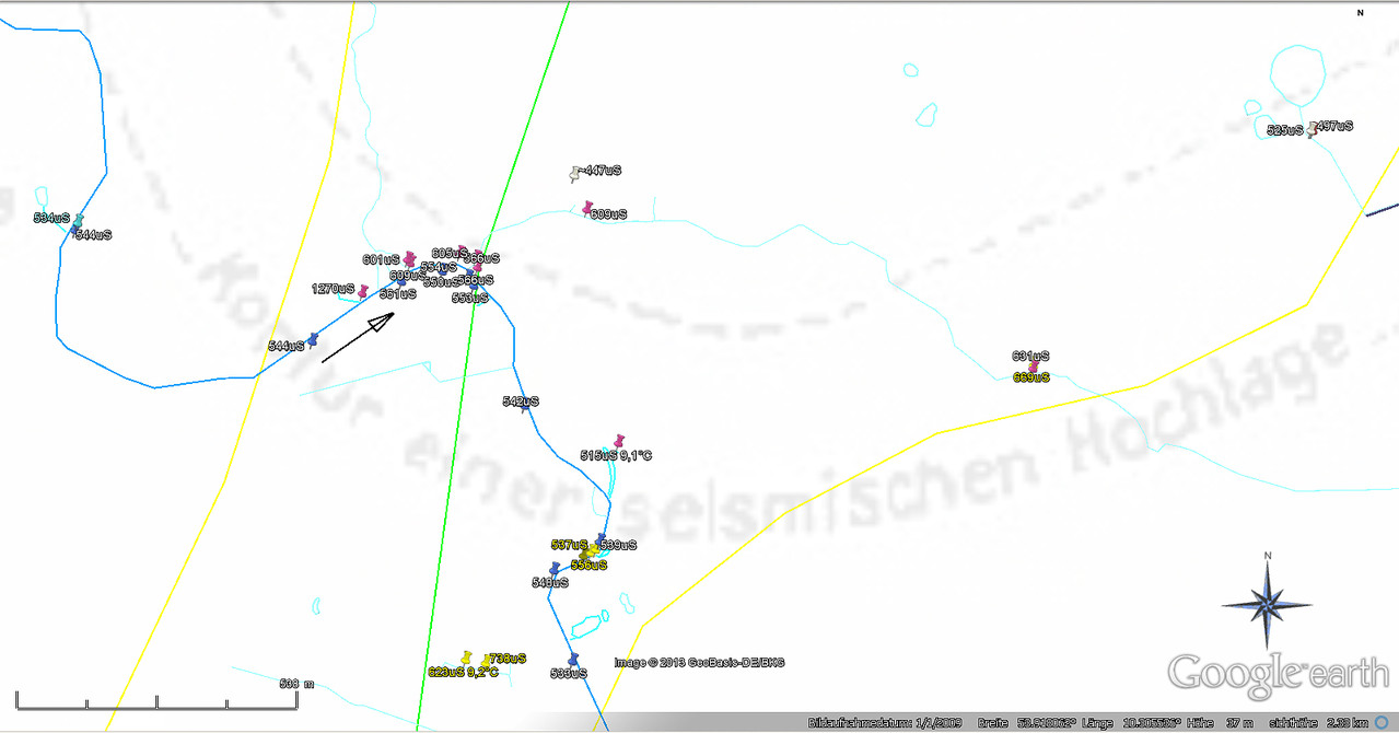 Leitwertmessungen Übersicht Travetal bei Högersdorf /Klein Gladebrügge