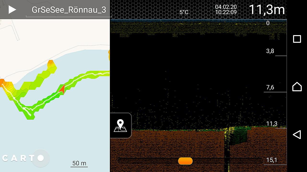 """Darstellung des Sonarbildes in der Handy-App """"Deeper Smart Sonar"""""""