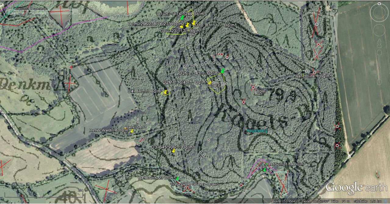Messkampagne 2.-9.8.13 mit Dosimeter `DOSEman PRO` zum Nachweis von Polonium218 in den aus Dachsburg ausziehenden Wettern