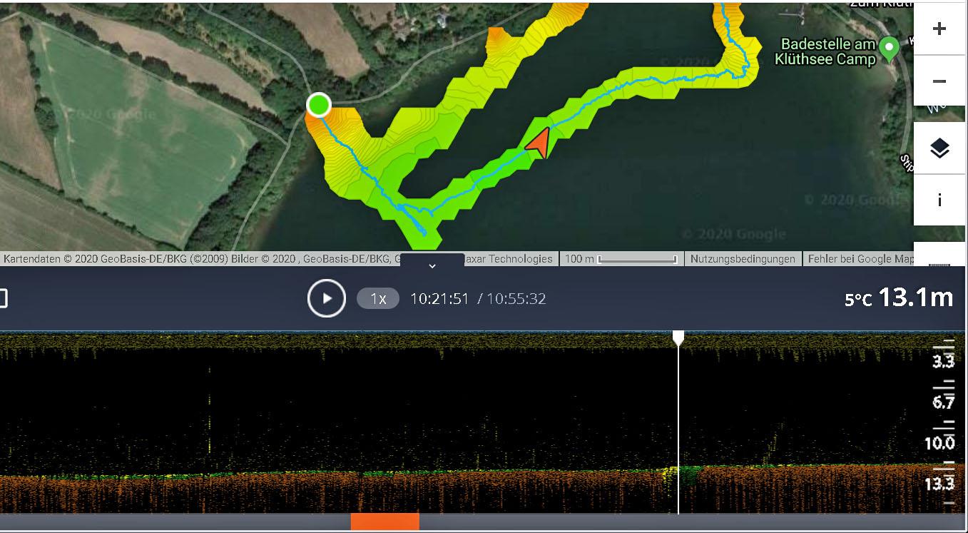 Darstellung der bathymetrischen Daten, der Fahrspur und des Sonarbildes am 4.2.2020 vom Seegrund in der Anwendersoftware LAKEBOOK