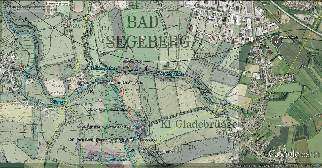 Quellen im Travetal bei Högersdorf u. Klein Gladebrügge / Topographie