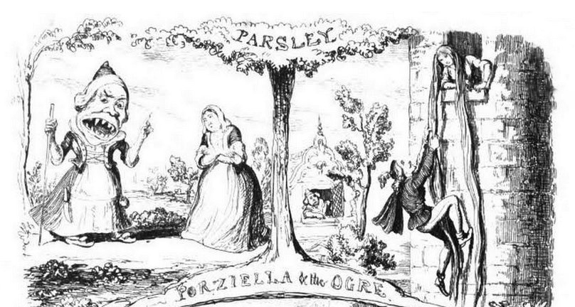 Porziella, successivamente Petrosinella, Prezzemolina o Raperonzolo, tratta da Il Pentamerone, o Cunto de li cunti di Giambattista Basile. 1630