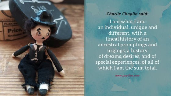 Miniature of Charlie Chaplin with quote