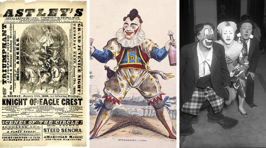 1. flyer of the first equestrian circus 2. Joey Grimaldi 3. Trio Fratellini