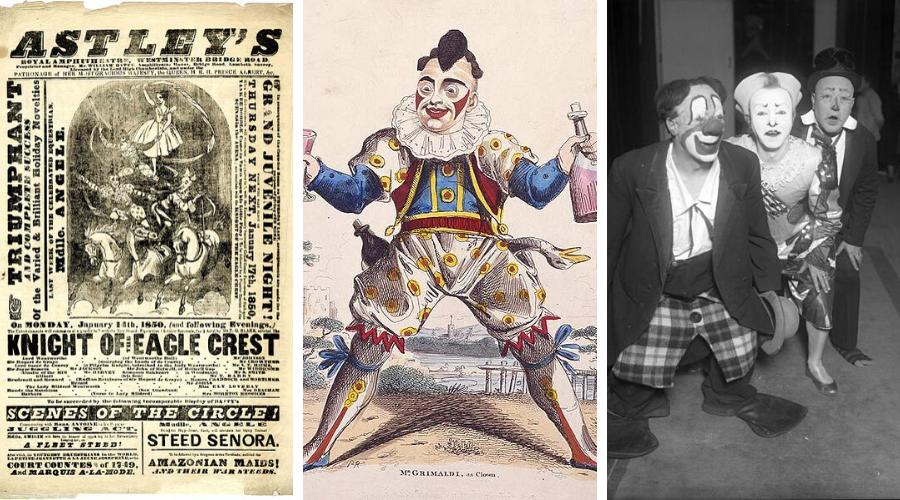 1. volantino del primo circo equestre 2. Joey Grimaldi 3. Trio Fratellini