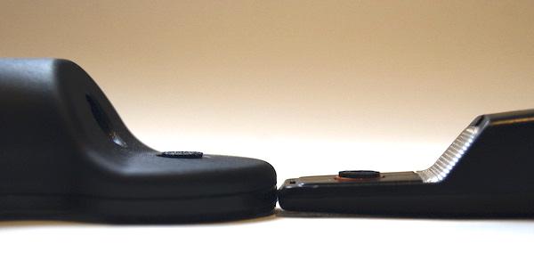 Die unterschiedliche Höhe der Reinigungsflüssigkeit-Pads: links das Flux-Sonic und rechts das AT-637