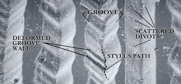Fünf Schallplatten-Rillen unter dem Mikroskop | ©LAST Factory