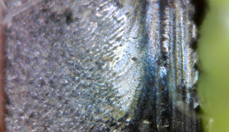 Foto 9b: gleiche Schallplatte im Querschnitt mit links aufliegendem (grünen) Mikrofasertuch