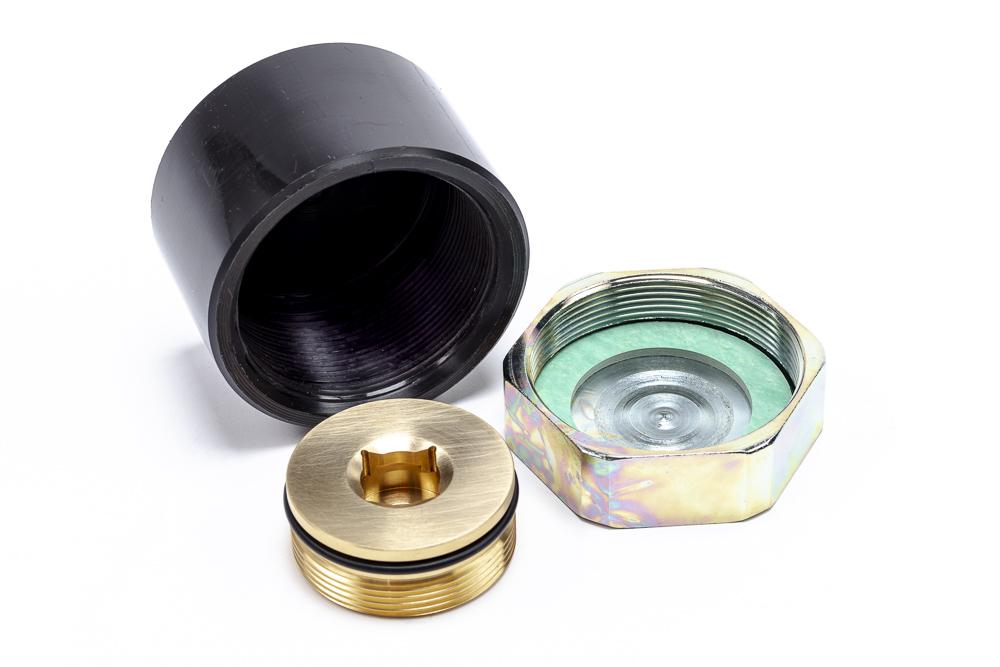 Kunststoff- oder Stahlkappe als wählbare zweite Abdichtung