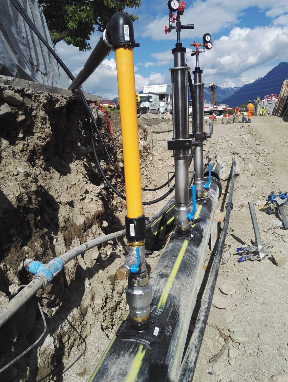 Parallele Gasversorgung während der Sperrung durch einen provisorischen Bypass.