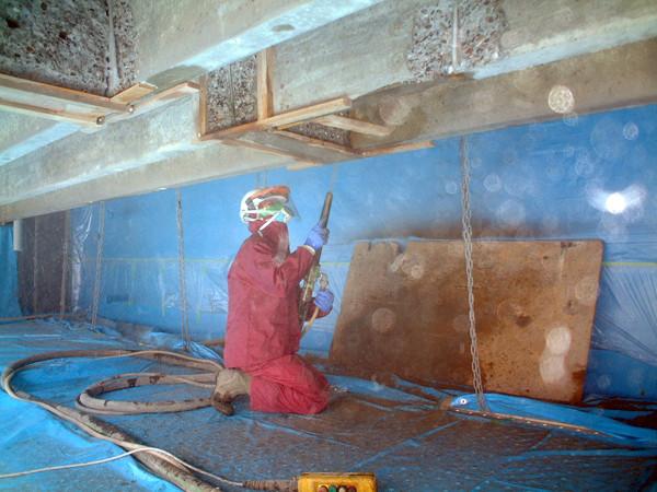 ポリマーセメントモルタルの乾式吹付け作業