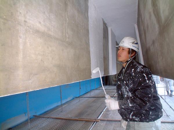 乾燥後、表面の保護塗料の塗布