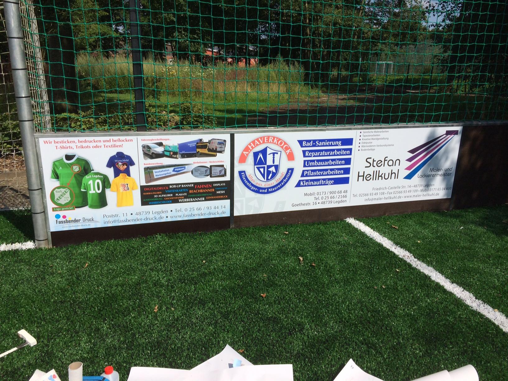 Bandenwerbung Soccerfeld Jugendhaus Pool Legden