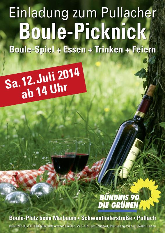 Plakat »Einladung zum Boule-Picknick« – »Bündnis 90 Die Grünen«